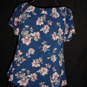 S WANDERER Pink Flowers On & Off Shoulder Blouse L